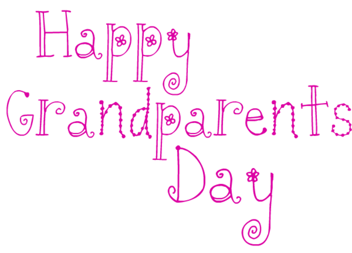 Happy Grandparents Day card and clip art with magenta flower text