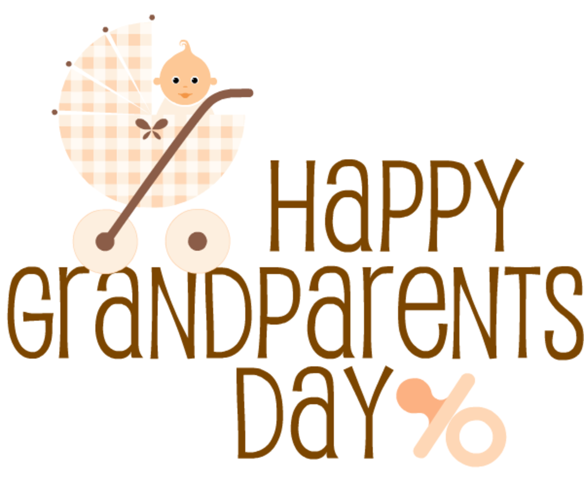 Free Happy Grandparents Day card and clip art with beige baby carriage and pacifier -- brown text