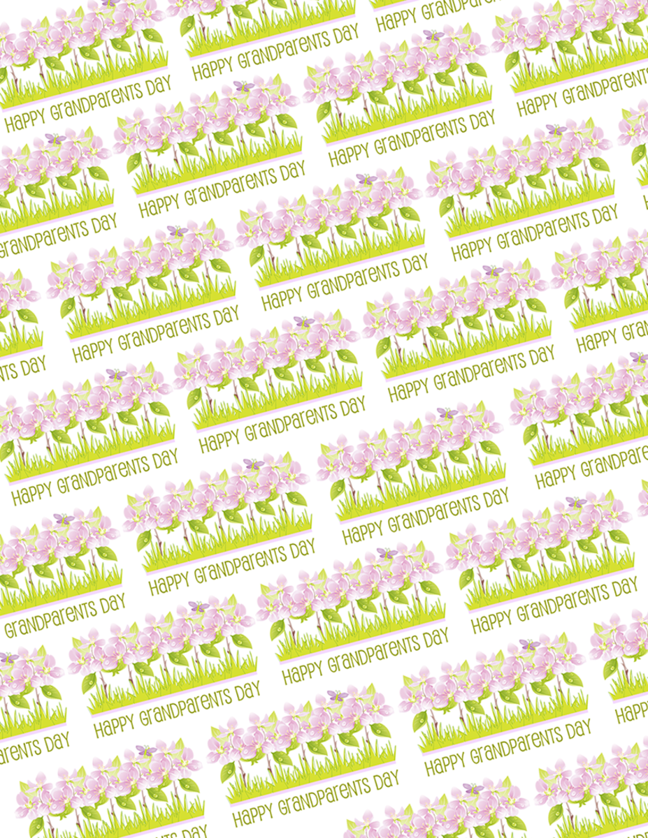 Free Grandparents Day scrapbook paper with purple flowers and green text