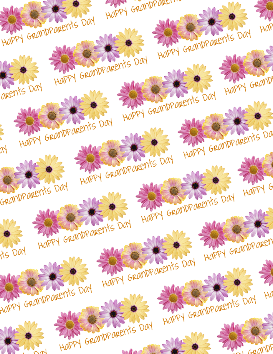 Free Grandparents Day wrapping paper with four yellow, pink and purple daisies and gold text