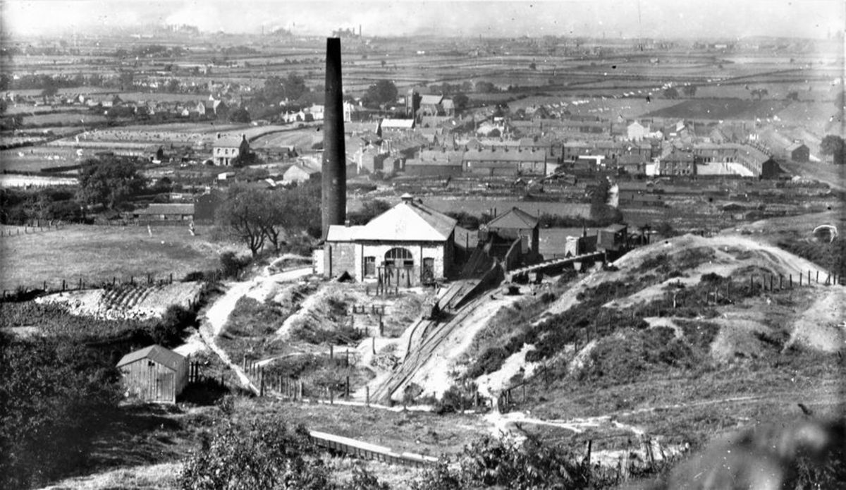 Overlooking Trustee Drift and gradient from Low Drum, Eston, late 19th Century before the station was opened in 1902 by the North Eastern Railway. Christ Church (centre background) had been built in the late 1870's, but looks newer in red brick
