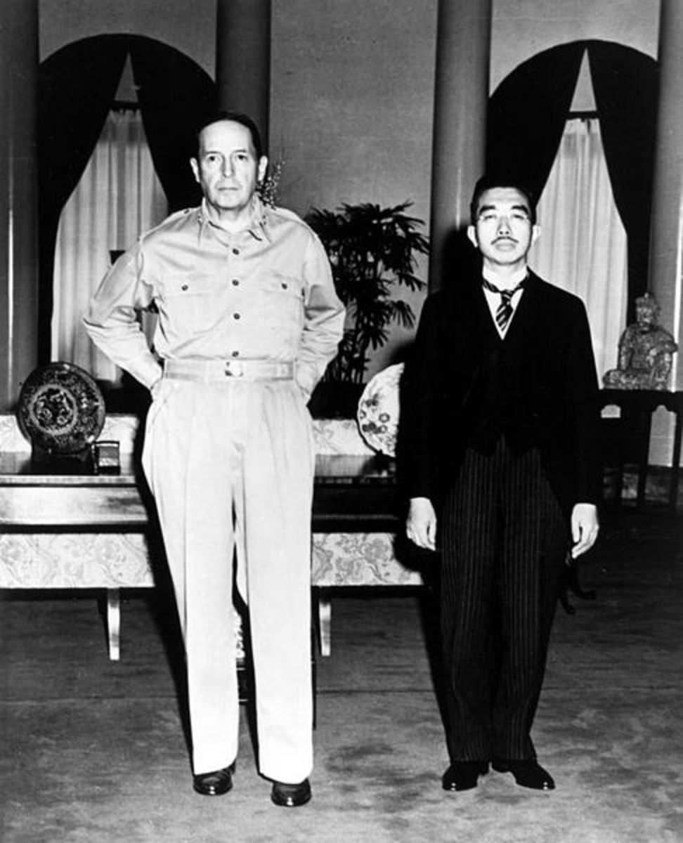 General Douglas MacArthur and Hirohito in a photo taken at their famous post-war meeting, portrayed in the film, 'Emperor'.