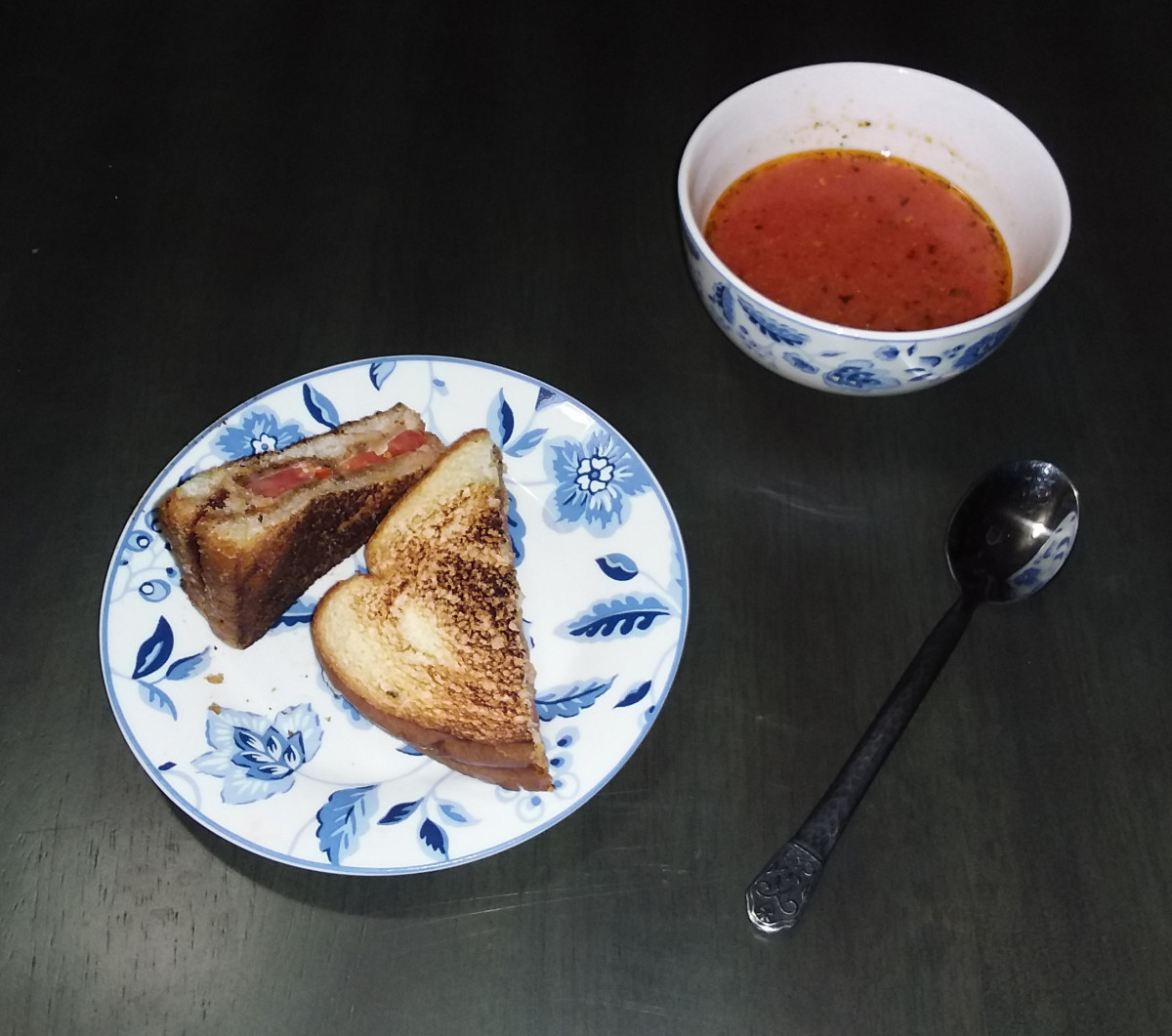 Grilled cheese and homemade tomato soup