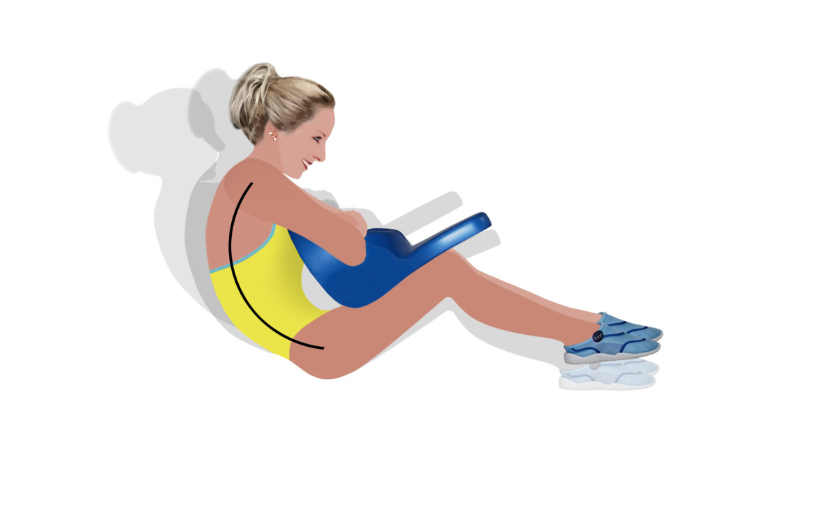 Sit ups in the water.  Water Aerobics - Take Your Workout to the Water!  Wonderful crunches in the water.