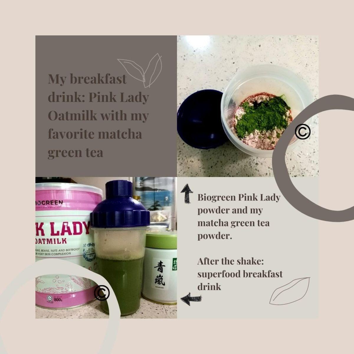My superfood breakfast drink: Biogreen Pink Lady Oatmilk with matcha green tea