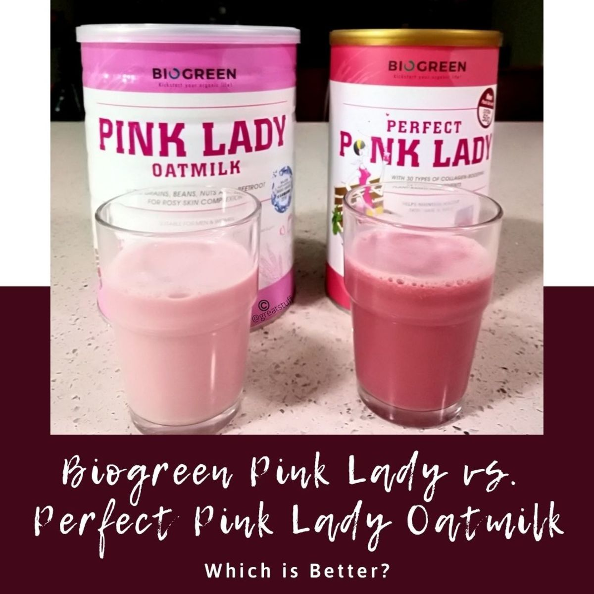 Biogreen Pink Lady vs. Perfect Pink Lady Oatmilk. Which of these health drinks is better?