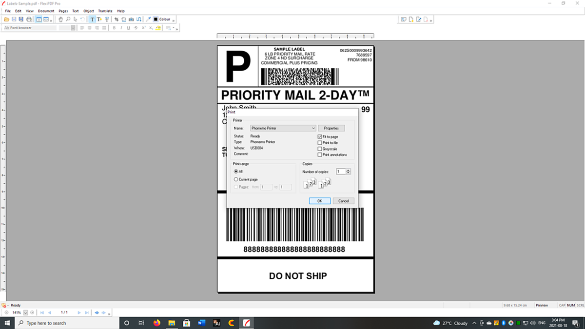 Printing a sample label