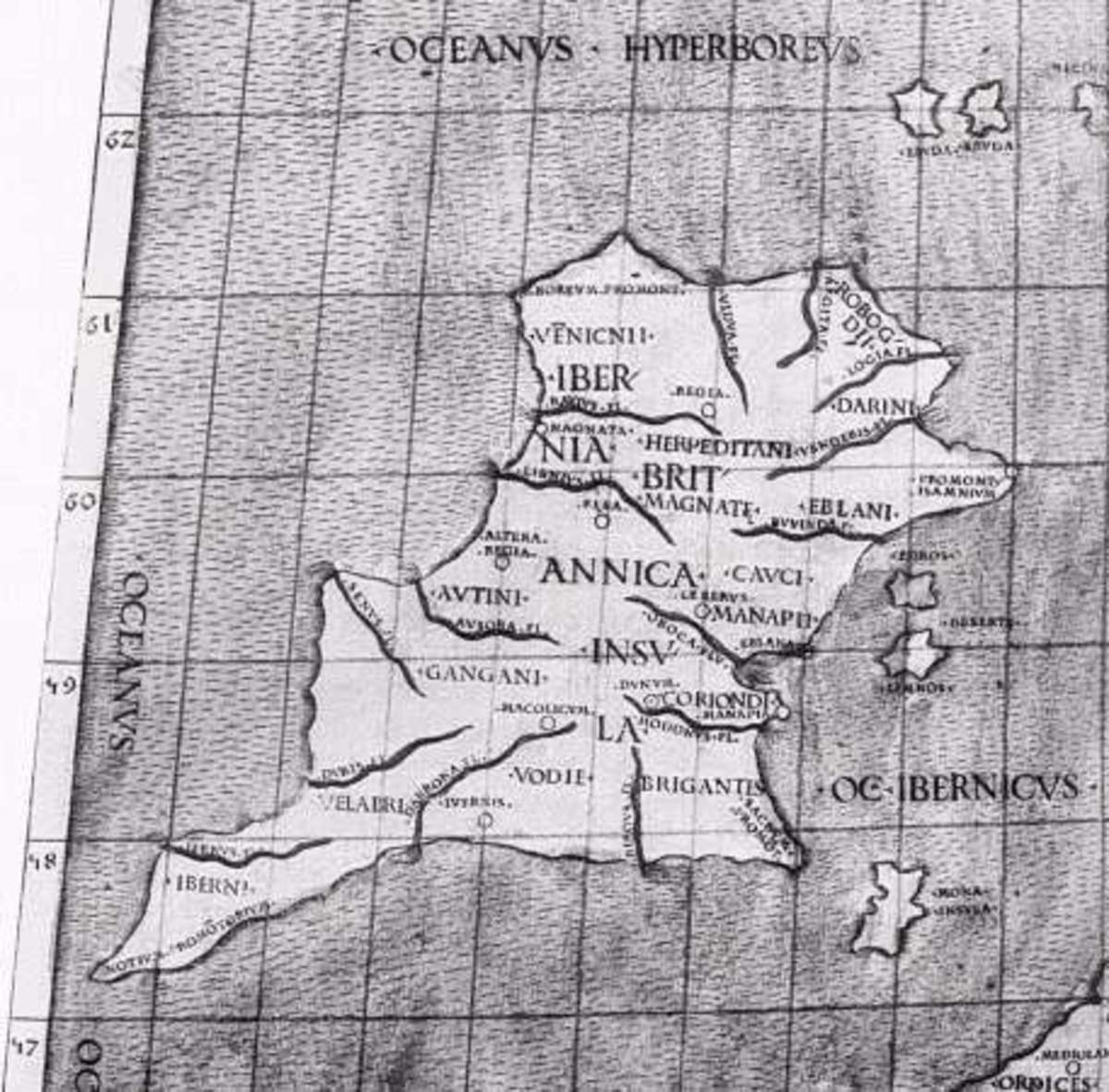 Ptolemy's map of Ireland, the regional names in Latin Roman script