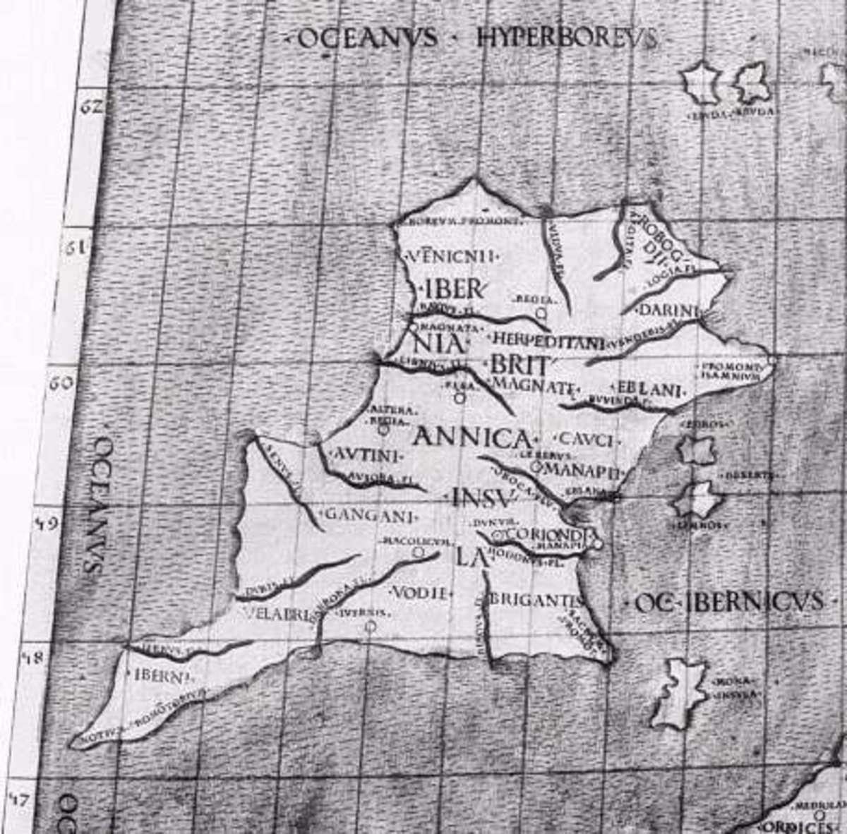 Ptolemy's map of Ireland, the regional names in Latin Roman script