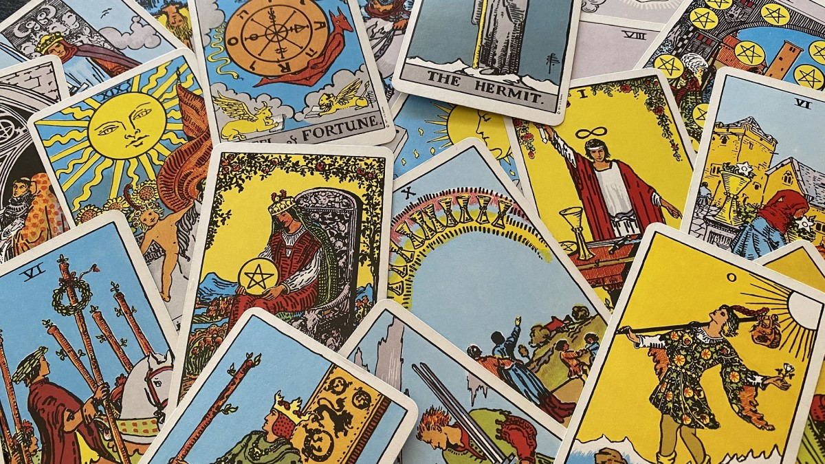 Images from the Rider-Waite Tarot deck, the world's most popular, feature primary colors and relatable symbols.