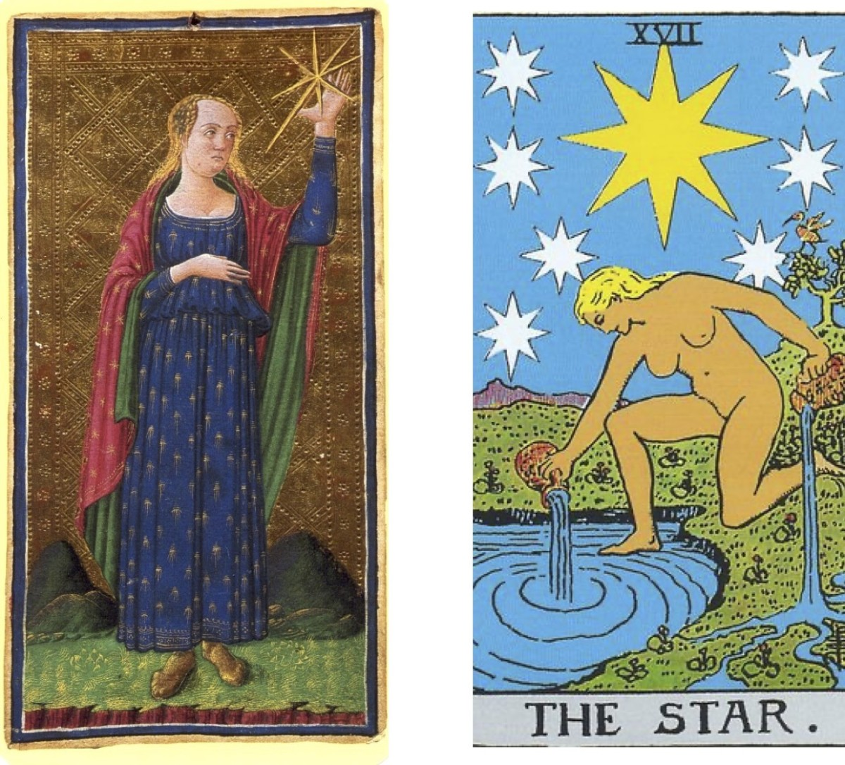 """This Star card means material and spiritual success; the """"balanced life"""" ideal. Does it come on a silver platter? No. Note that both images (15th and 20th century versions) have mountains in the background, representing challenges overcome."""