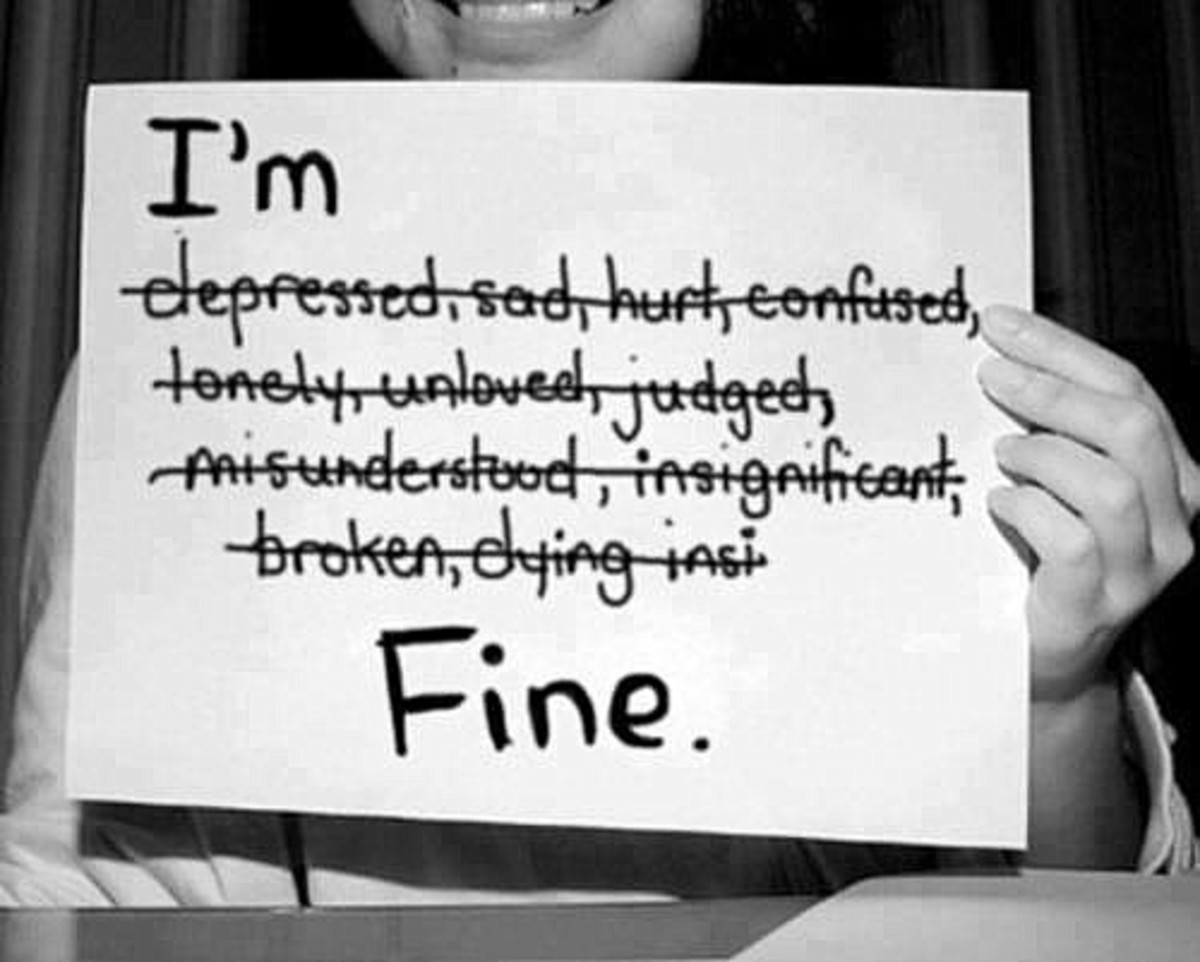 Something you say to someone when you are not, in fact, fine at all, but you don't want to worry them.