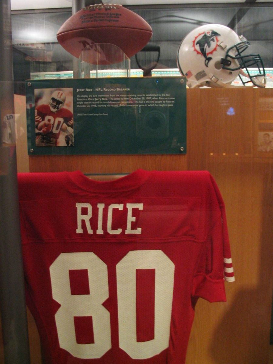 Jerry Rice's jersey in the Pro Football Hall of Fame