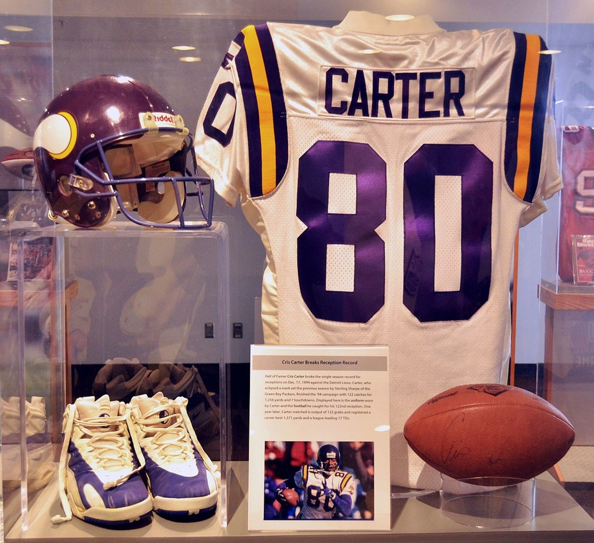 Cris Carter's gear in the Pro Football Hall of Fame