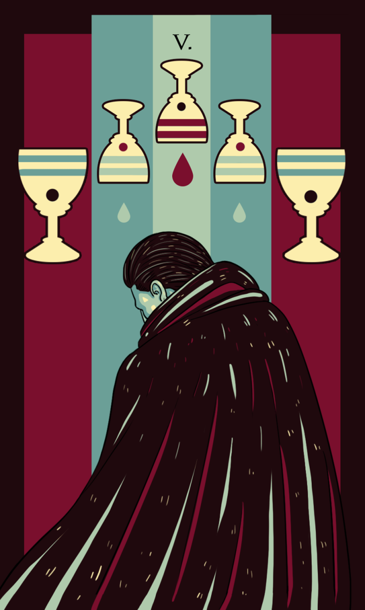 The Reversed Five of Cups is hopeful. You're beginning to see the light. You're allowing yourself to recover. You're trying to make your liberation a priority.