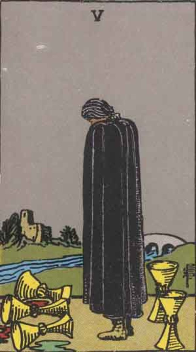 The Five of Cups is an uncomfortable card for most people. It reveals that emotionally you've been through some rough stuff. This can be hard to process and even communicate.