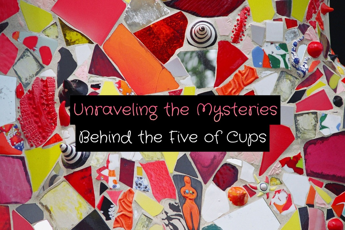 The Five of Cups is about grief, loss, and sorrow. You've lost three of your cups, but behind you there are still two more. It is time to get in touch with your emotions and to give yourself self-care.