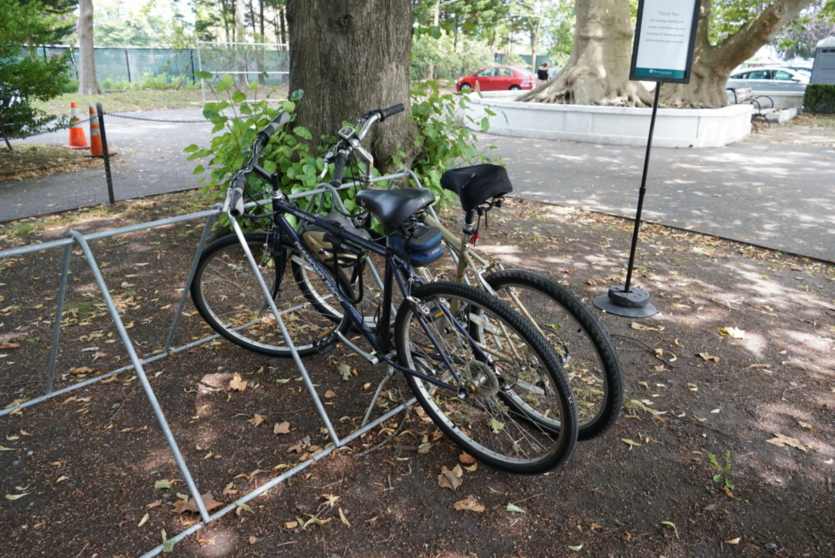 Bike racks are abundant in Newport - these are at the Marble House