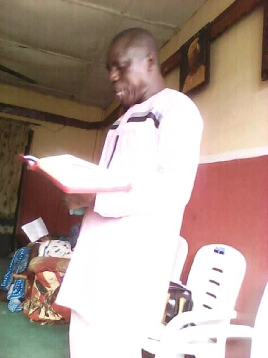 Pastor Isaac Ejide, ministering to the congregation in Ibadan, Nigeria.