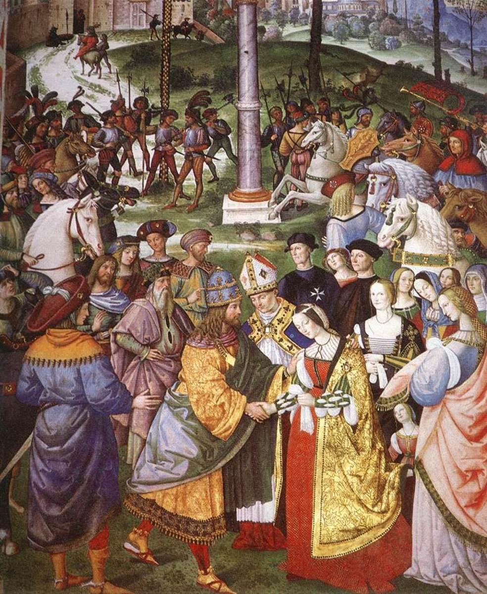 Mural in Piccolomini Library Enea Silvio Piccolomini Presents Frederick III to Eleonora of Portugal