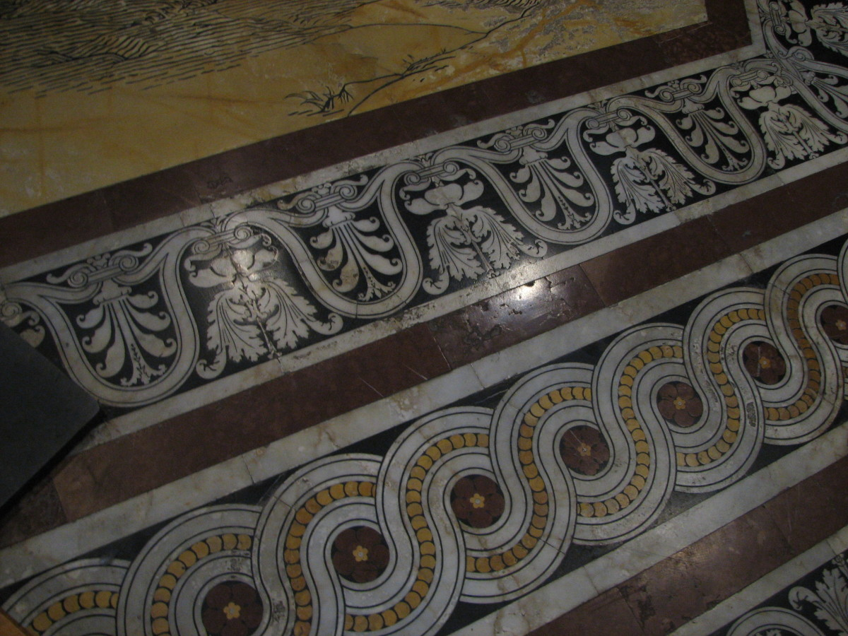 example of etched and inlaid mosaic flooring