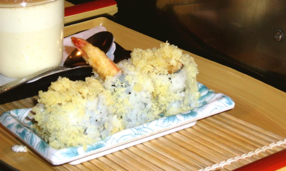 Honey-walnut shrimp tempura rolls. The coating is crisp and delicious.