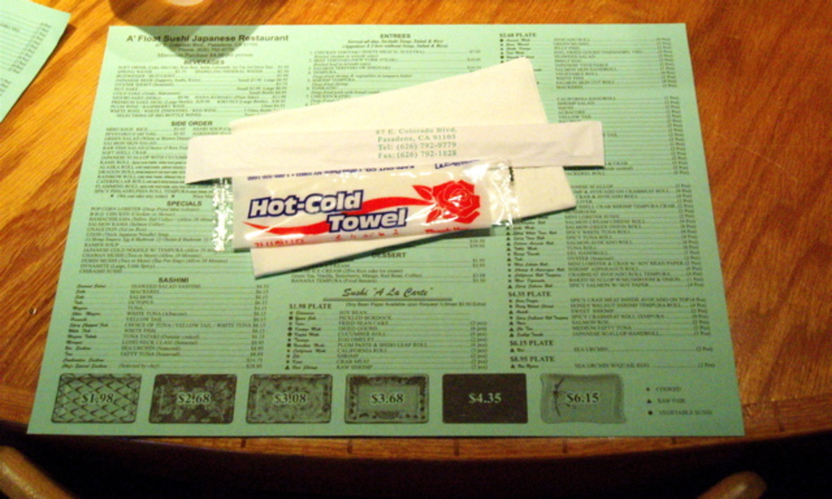 Accoutrements: Menu placemat, hand cleaning towel, chopsticks, napkin.