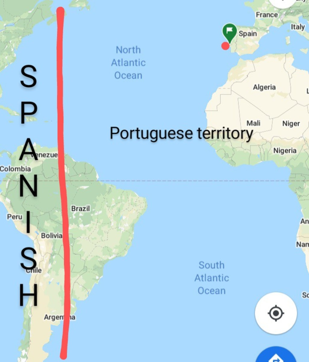 Division between Spanish and Portuguese territories after signing the treaty of Tordesillas.