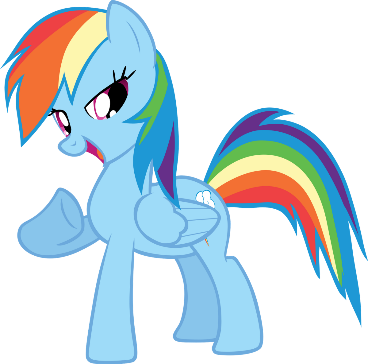 Im Rainbow Dash. Im the super raid, truly awesome, most epic pony of them all. You don't need to learn more about other ponies you want the best check out my fan page! Come on do it!