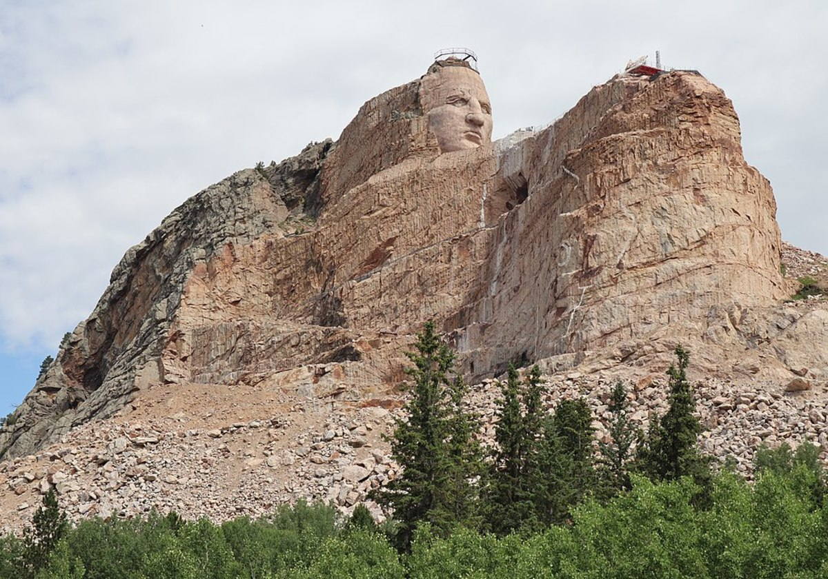 Crazy Horse under construction in the Black Hills of South Dakota.