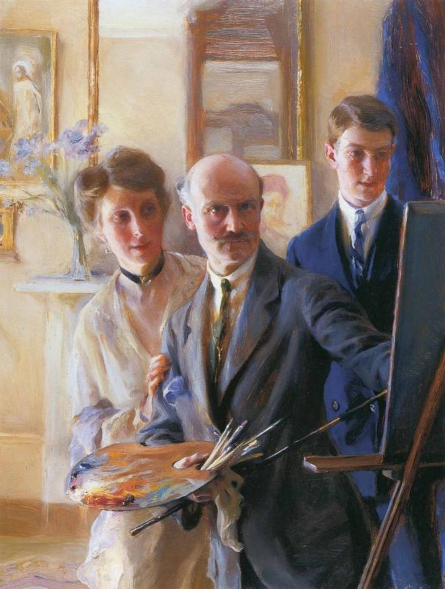 Philip, Lucy and one of their sons in another self portrait by de László.