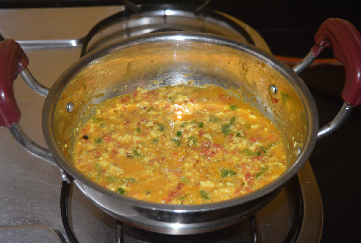 Add a cup of water and stir the mixture to get semi-solid consistency gravy.