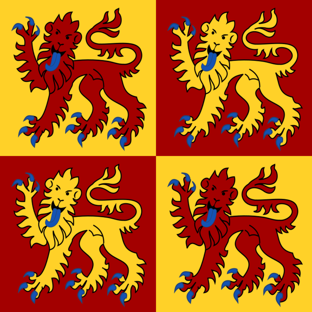 The Flag of the Kingdom of Gwynned used by Llewellyn the Great, Owain's ancestor. Prince Charles, the current Prince of Wales uses a version of this.