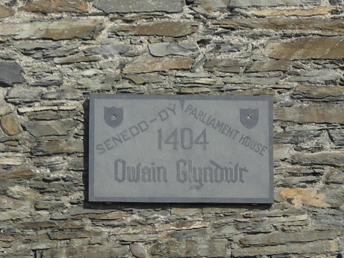 The plaque marking Owain Glyndŵr's parliament building in Machynlleth, Powys.