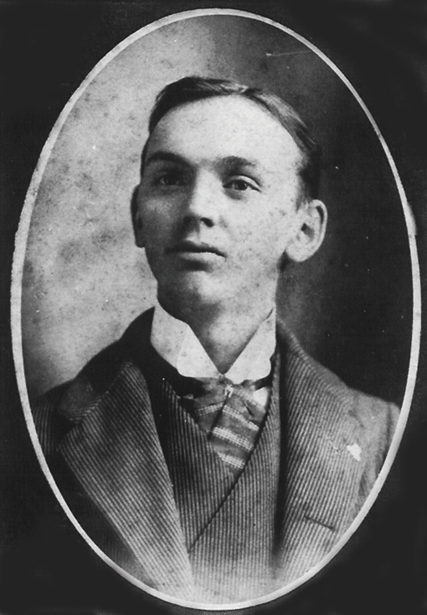 Edgar Cayce in an early photo taken in Christian County, Kentucky, his birthplace. He is buried in Hopkinsville, Kentucky.