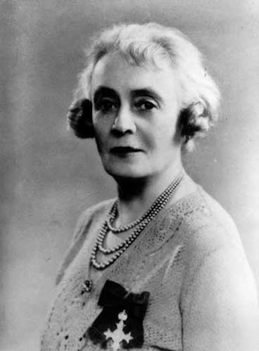 Australian social activist Bessie Rischbieth (1874-1967) wearing her O.B.E. circa 1930.