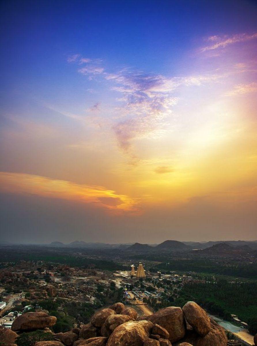 Sunset at Virupaksha Temple