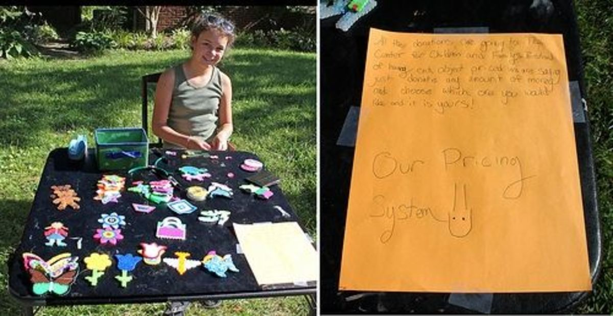 Selling children's crafts for donations to your cause.