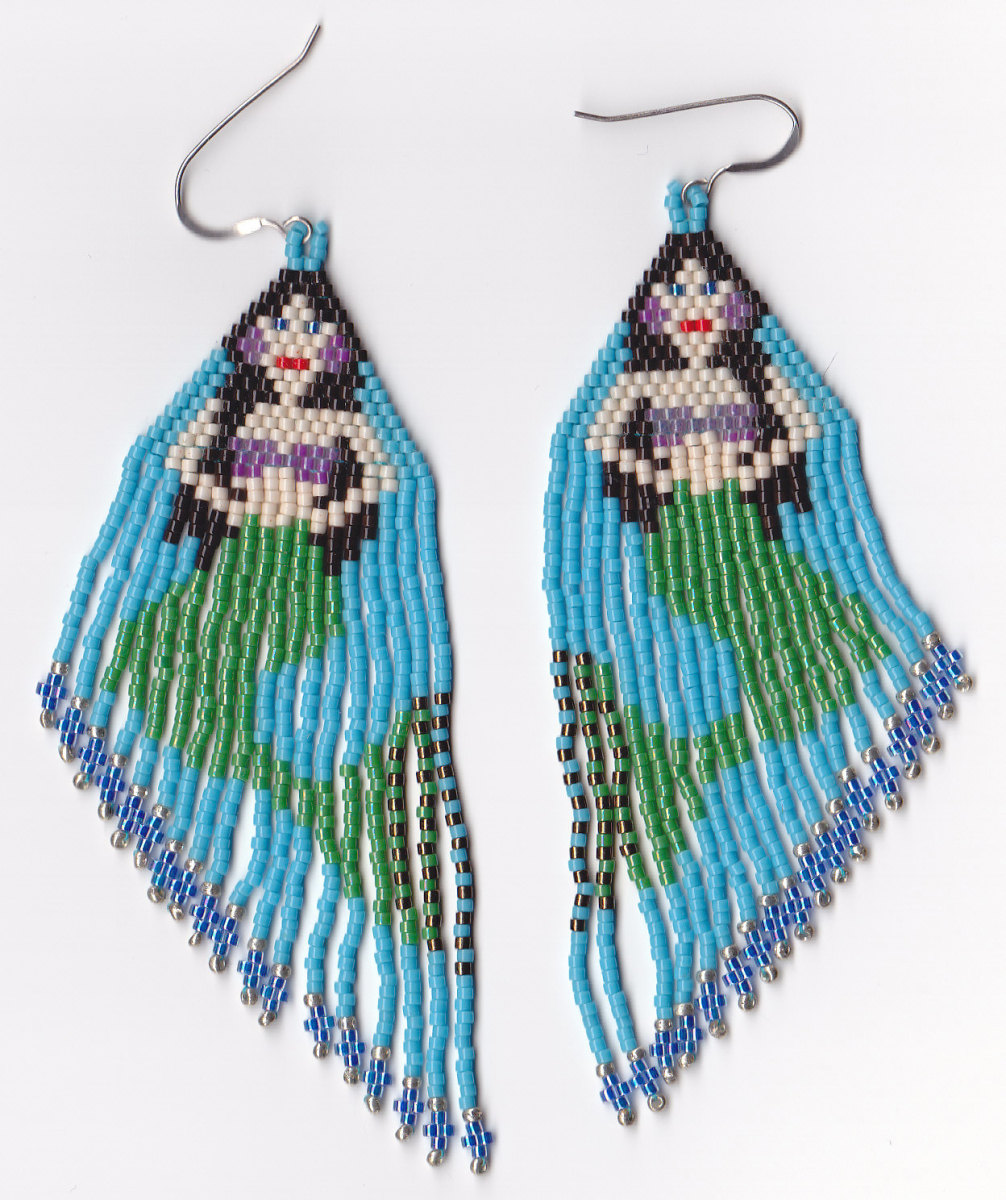 A pair of earrings I beaded from one of the patterns in this book using Delica beads