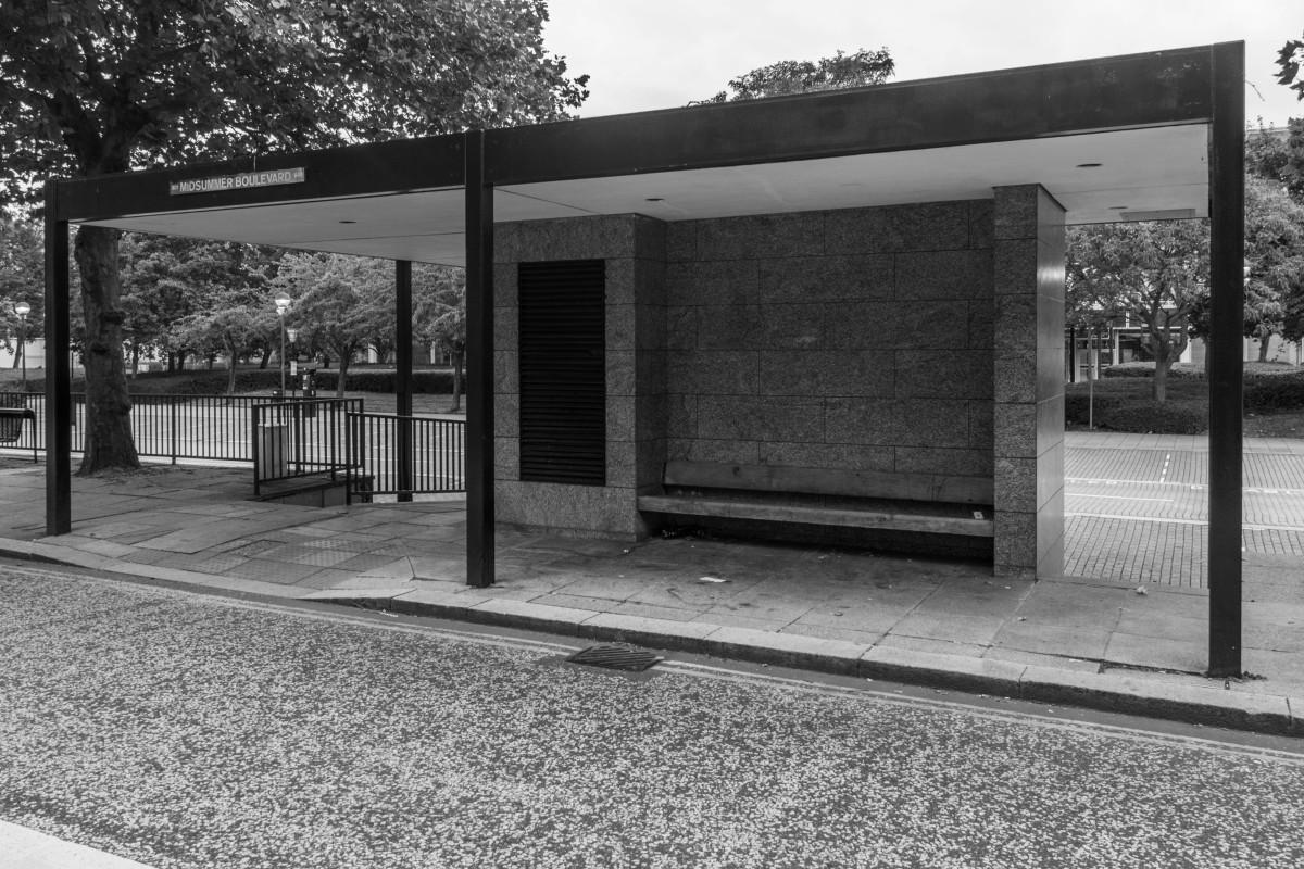Original bus stop design in Central Milton Keynes