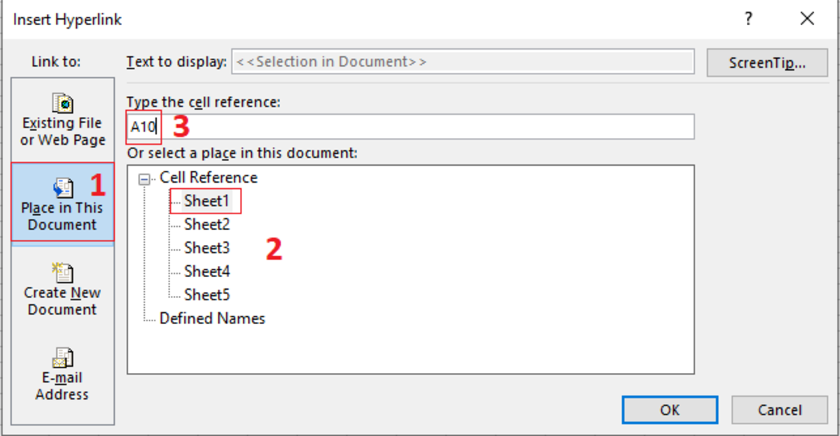 By selecting the place in this document button you can have cursor moved to any part of an Excel document with the click of a button.