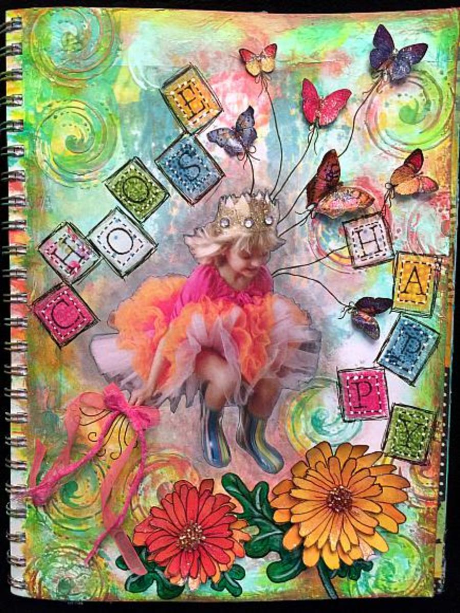 Mixed media art journal pages have different techniques and products used to create one creative journal page.