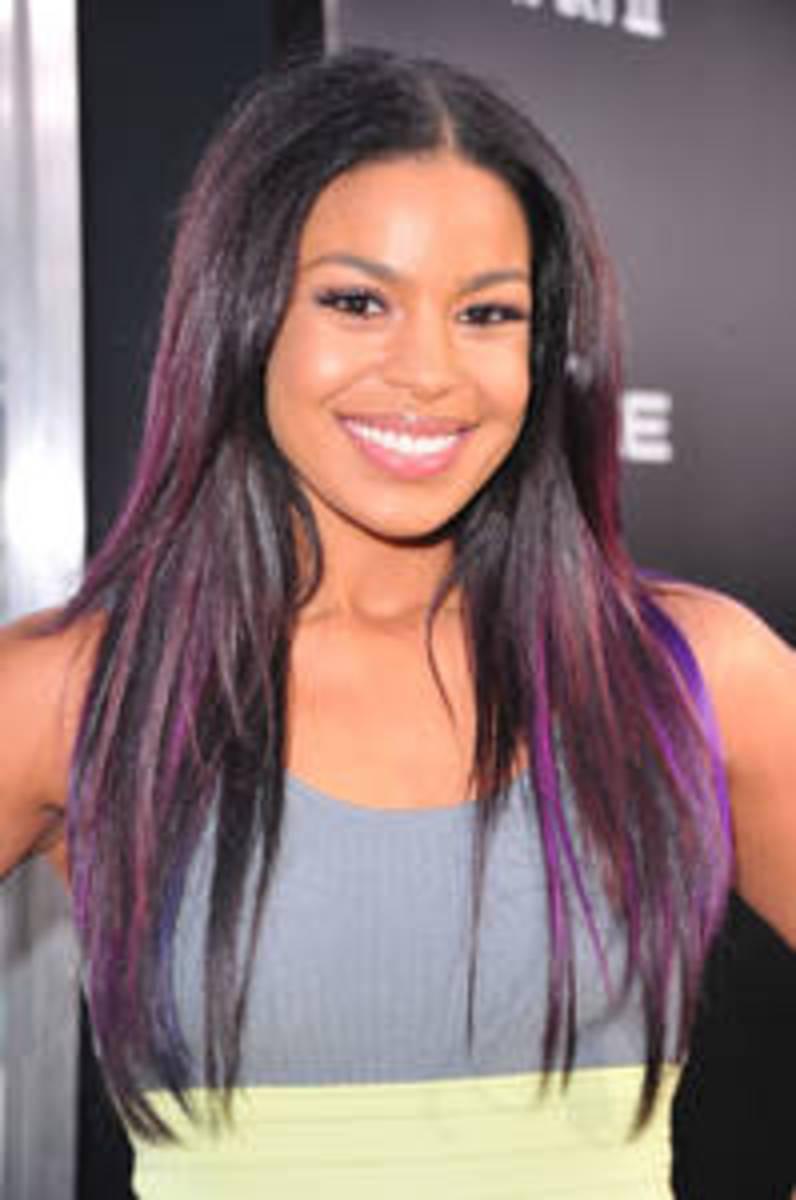 Jordin Sparks in purple hair. Jordin Sparks with straight hair.