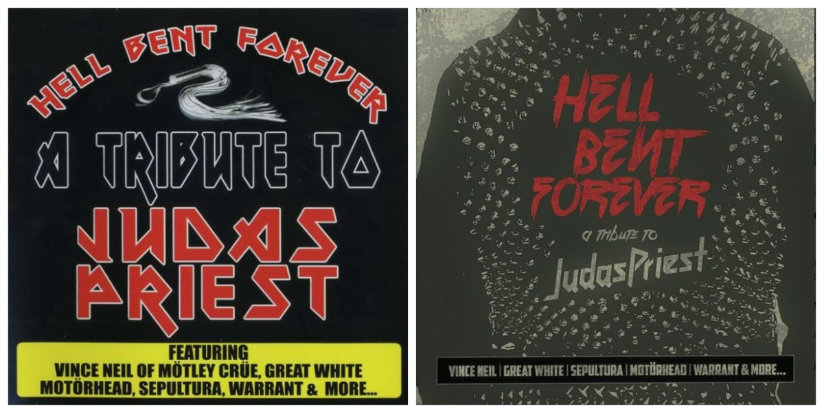 """""""The Broken Law"""" was previously released by Deadline/Cleopatra Records as """"Hell Bent Forever,"""" in 2005 (left; note hilarious use of Iron Maiden typeface!) and 2019 (right)"""
