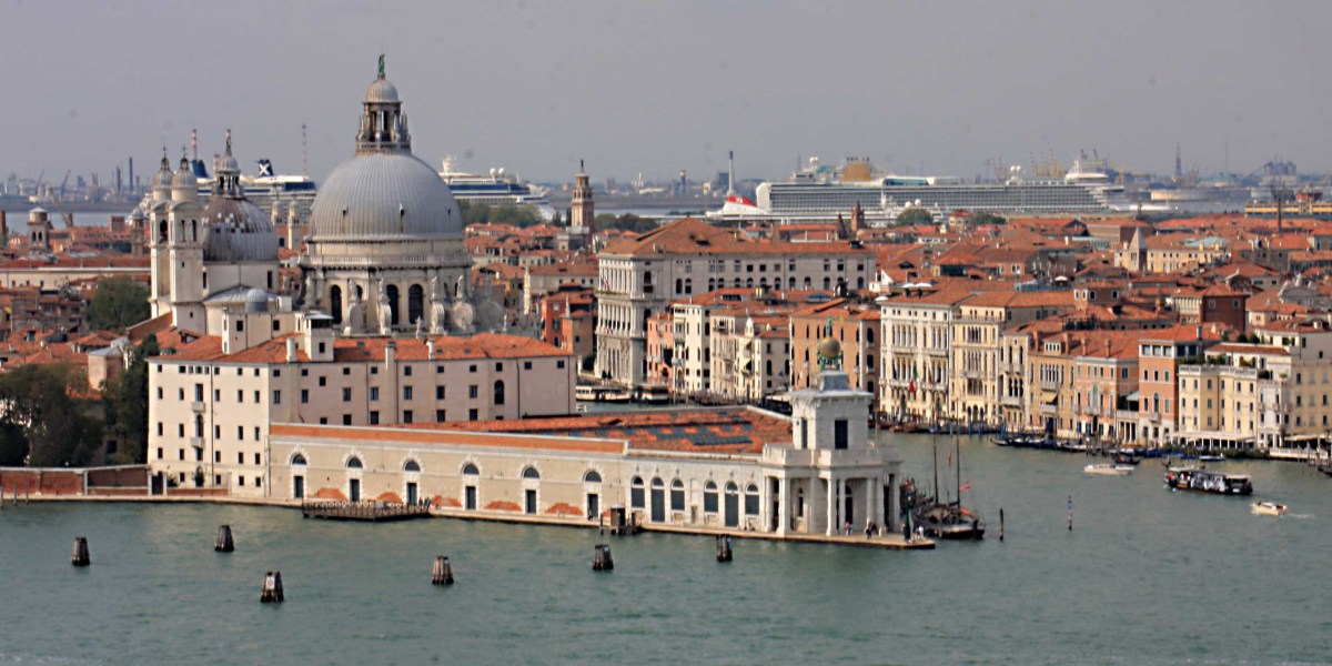 The domed church of La Salute - one of Venice's most famous landmarks - photographed from the bell tower on one of the other islands in the lagoon, San Giorgio Maggiore