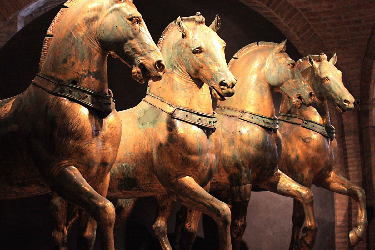 The four bronze horses. A replica of this statue stands outside the Basilica, but this is the genuine original in the mseum