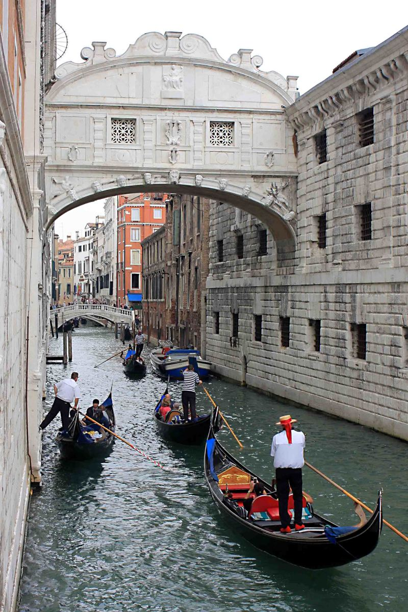 The Bridge of Sighs. On the left are the old law courts - part of the Doge's Palace in San Marco. On the right are the old prison cells.