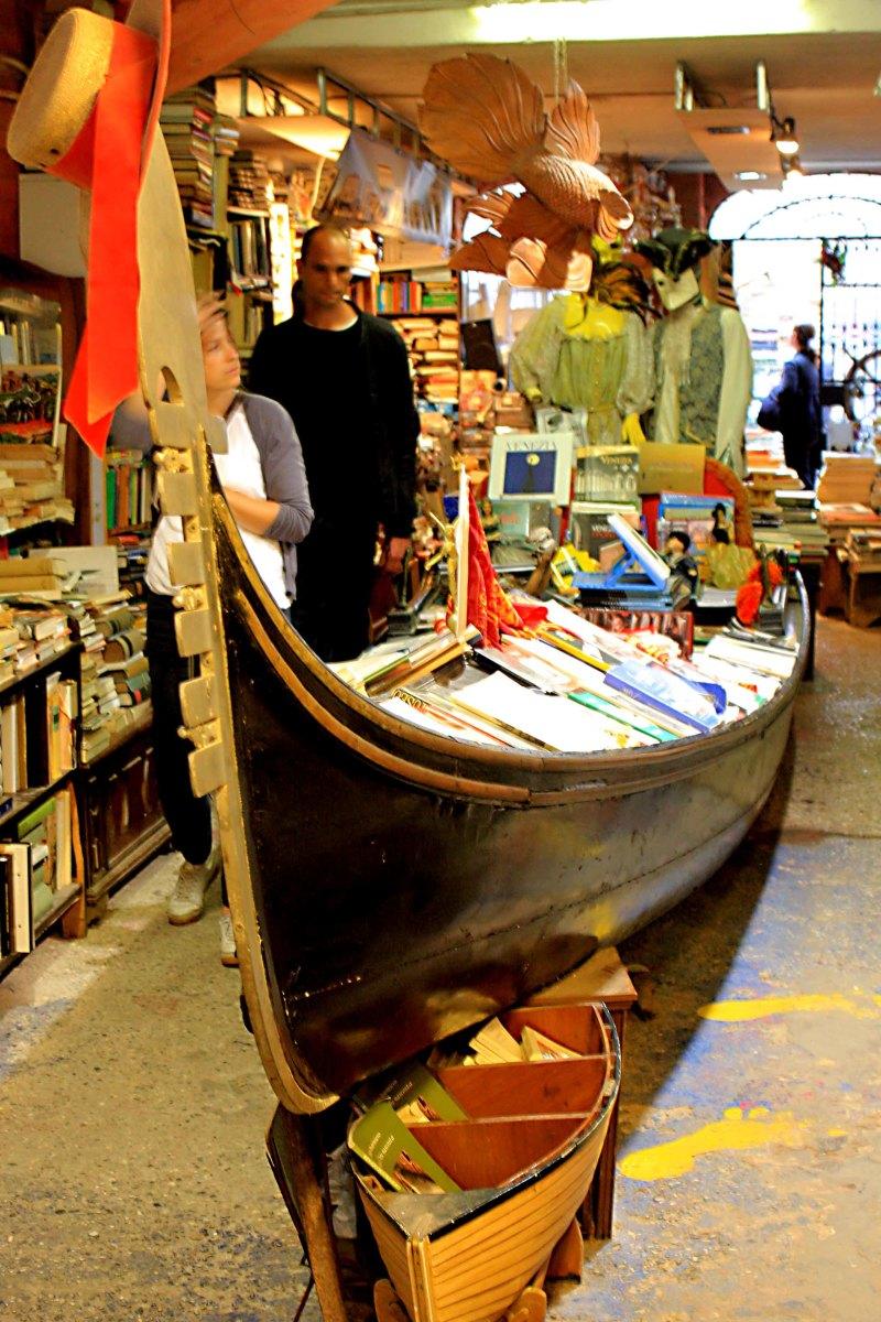 Libreria Acqua Alta - A gondola stuffed with books in the famous Venetian book store