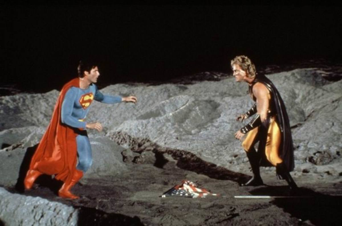 Christopher Reeve and Mark Pillow in Superman IV (1987).
