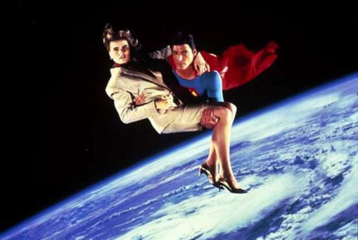 Christopher Reeve and Mariel Hemingway i n Superman IV (1987)